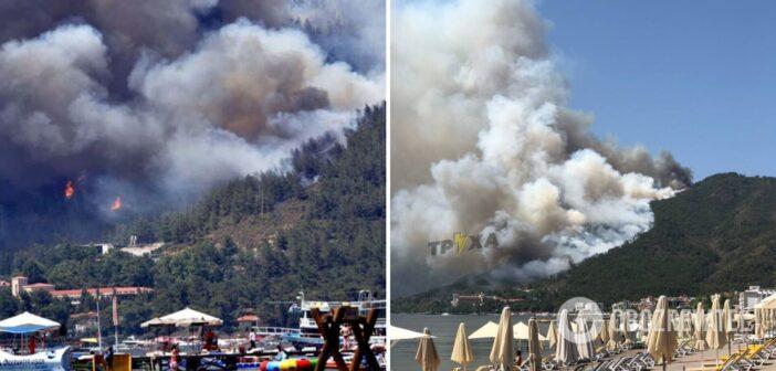 Μεγάλη δασική πυρκαγιά βρίσκεται αυτή την ώρα σε εξέλιξή στα Τουρκικά παράλια στο Μαρμαρίς ενώ ο καπνός από την φωτιά έχει φτάσει μέχρι τη Ρόδο
