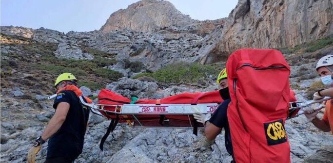 """Επιτυχημένη επιχείρηση διάσωσης Γαλλίδας αναρριχήτριαςστο αναρριχητικό πεδίο """"Pescatore"""" στην Τέλενδο."""