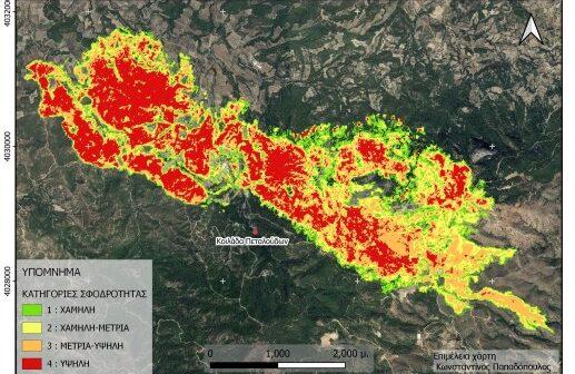 Εκτίμηση της σφοδρότητας καύσης της δασικής πυρκαγιάς στη Ρόδο