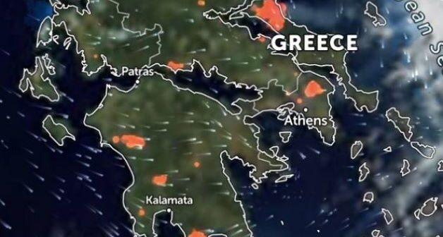 Φωτιές τώρα: Δείτε live εικόνα από δορυφόρο με τα πύρινα μέτωπα στην Ελλάδα