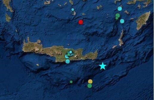 Ισχυρός σεισμός 6,3 Ρίχτερ νοτιοανατολικά της Κρήτης Αισθητός και στη Ρόδο